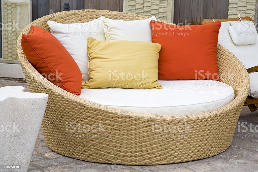 Modern Wicker Garden Sofa stock photo