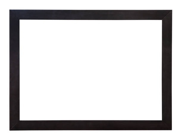 modern wide flat black wooden picture frame stock photo