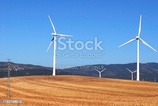 Tall white modern wind generators in a field, near Tarifa, Costa de la Luz, Cadiz Province, Andalusia, Spain, Europe,