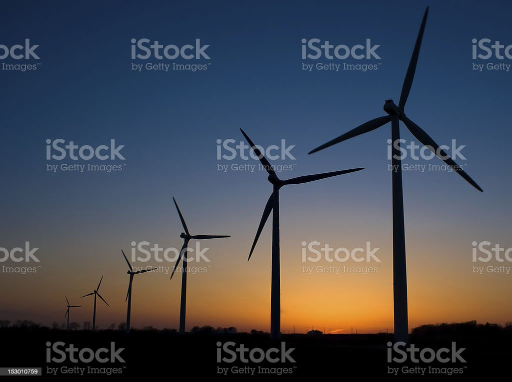 Modern Wind Mills at Sunset royalty-free stock photo