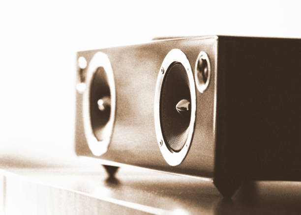 Modern wireless speaker stock photo