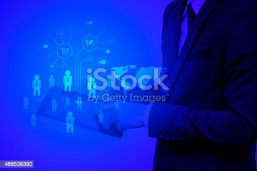 istock Modern wireless technology and social media illustration 488536392