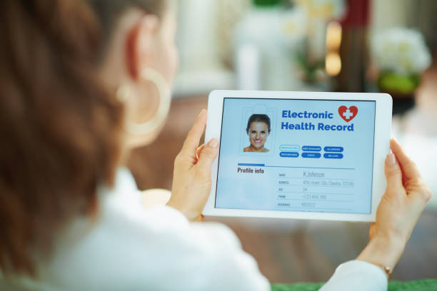 modern woman with ehr at home in sunny day stock photo