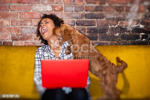 istock modern woman working from home 623295134
