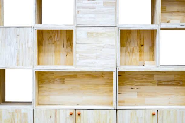 moderne holz schrank und leere box für put-objekt - offene regale stock-fotos und bilder
