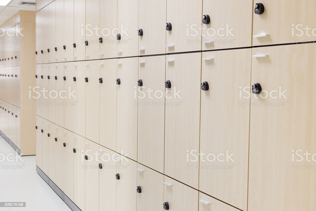 Modern wood locker stock photo