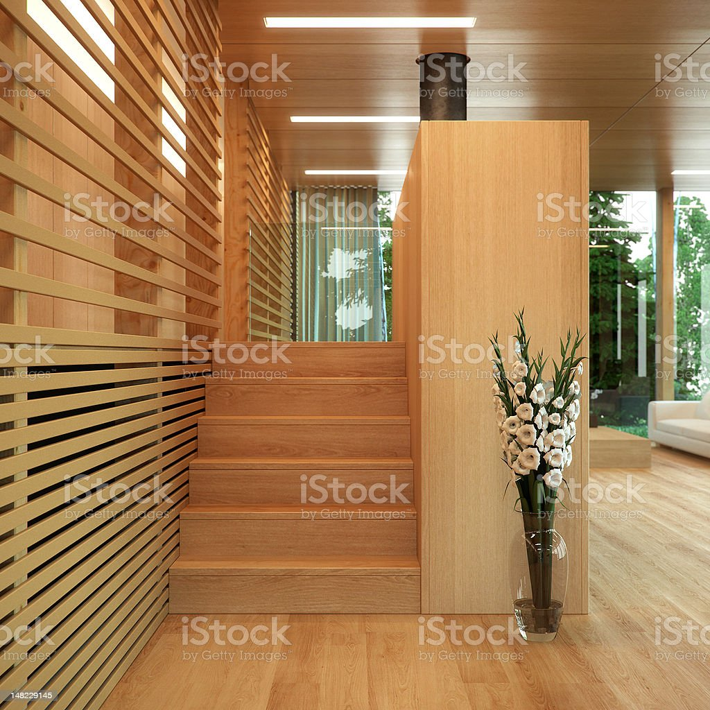 Modern wood panelled home royalty-free stock photo