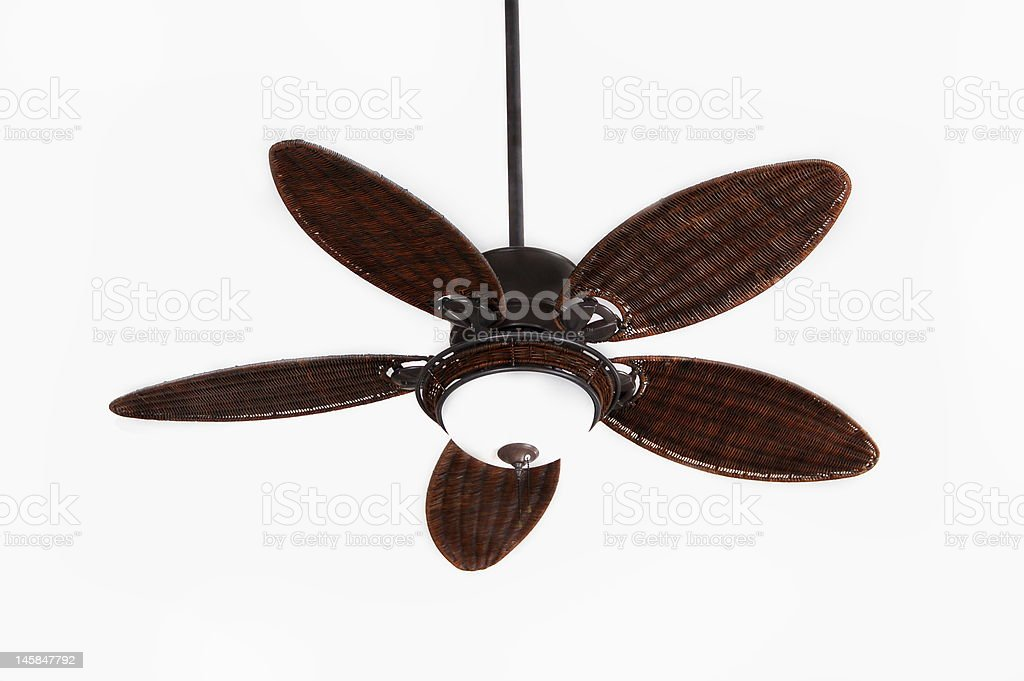 Modern wood plate ceiling fan on white background stock photo