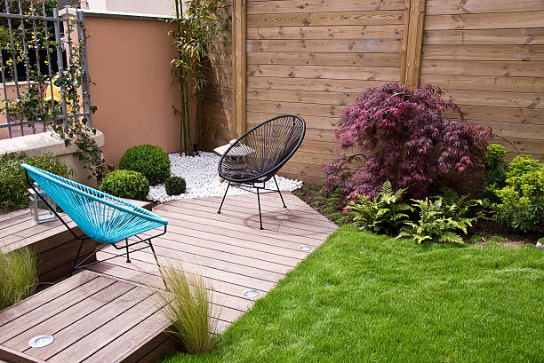 Modern wood terrace and garden stock photo