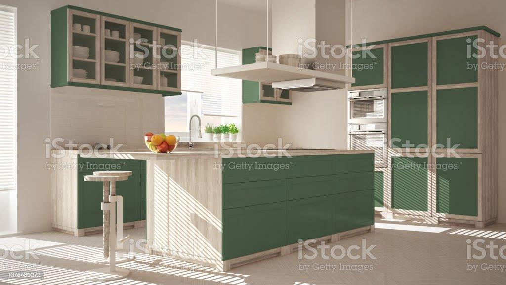 Moderne Holz Und Grüne Küche Mit Insel Hocker Und Windows ...
