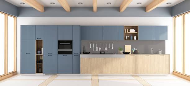 moderne holz- und lila küche - geschlossene küchen stock-fotos und bilder