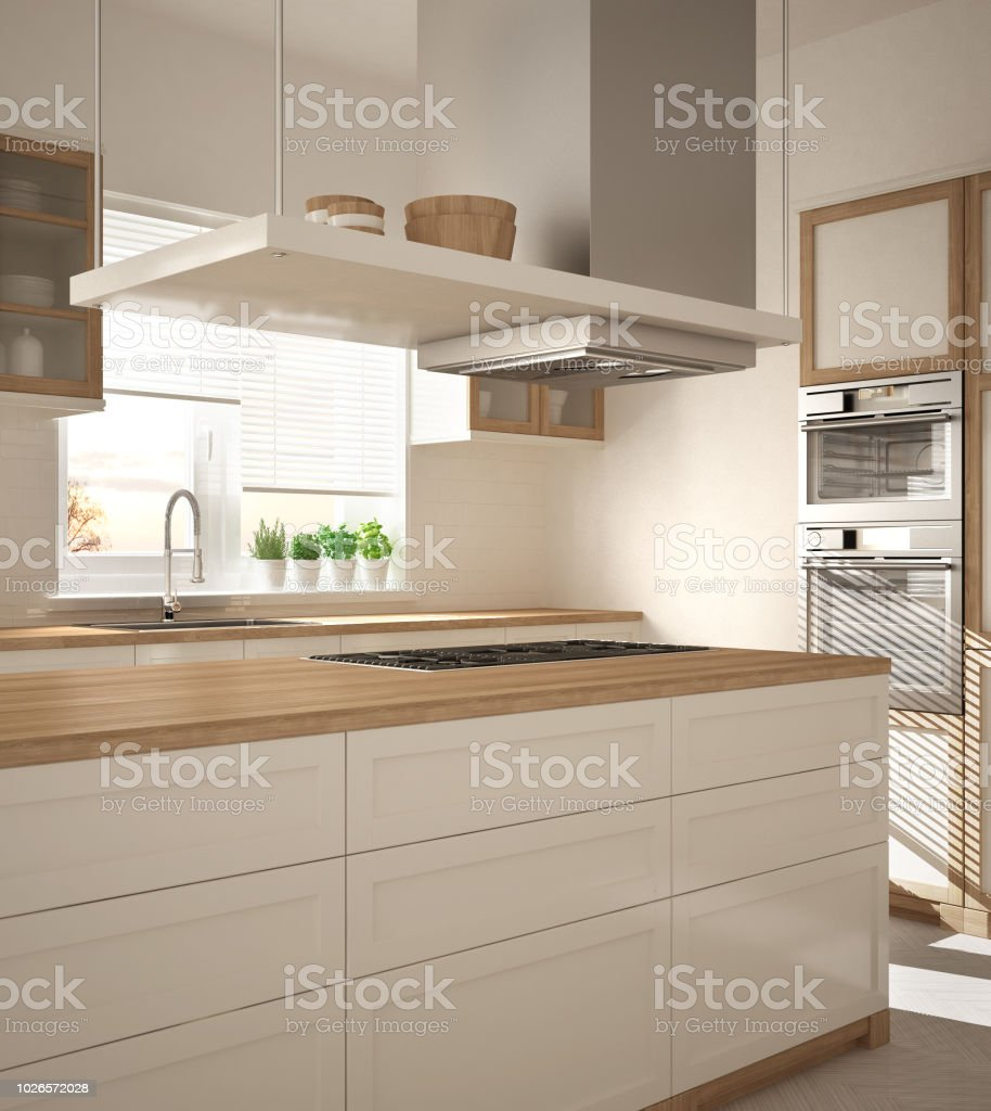 Moderne Holz Und Weisse Kuche Mit Insel Gasherd Und Spule