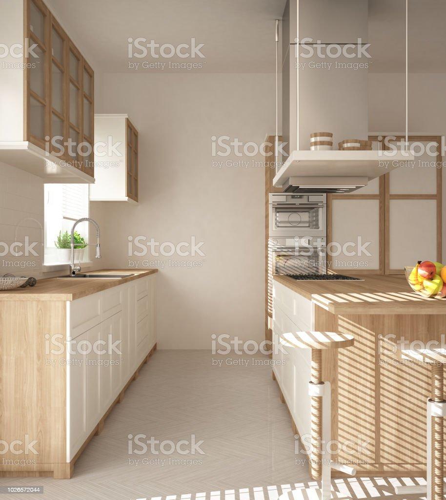 Moderne Holz Und Weiße Küche Mit Insel Hocker Und Windows ...
