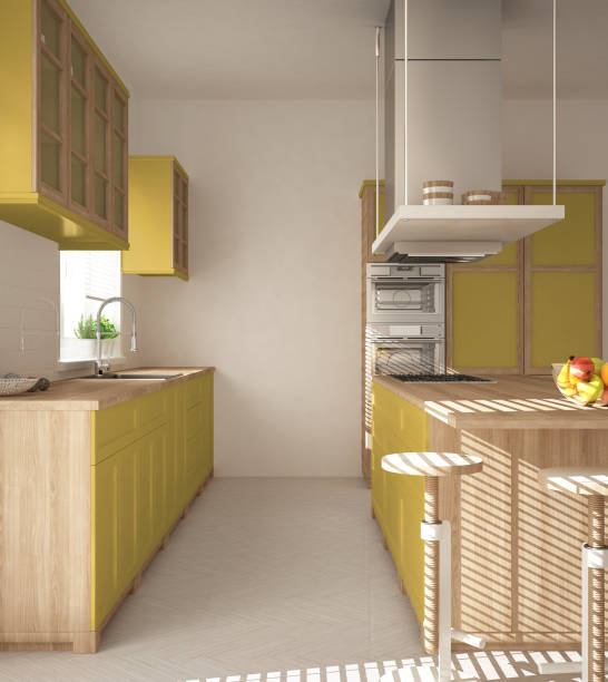 Modern wooden and yellow kitchen with island stools and windows picture id1081342200?b=1&k=6&m=1081342200&s=612x612&w=0&h=y8eeyeflvas2onvdxufttda9rwx91hnqehkdcztztfc=