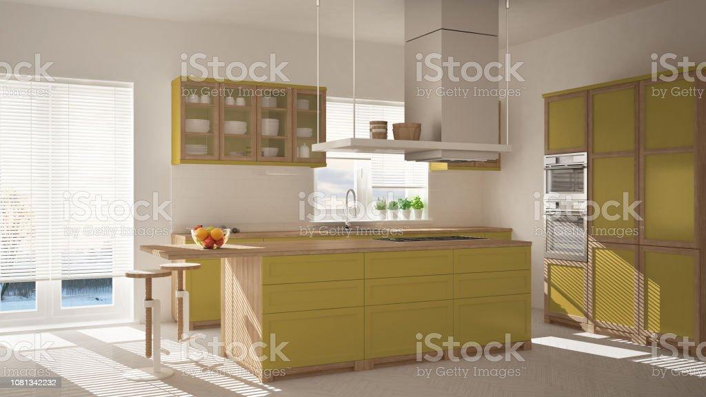 Moderne Holz Und Gelbe Küche Mit Insel Hocker Und Windows ...