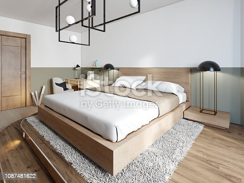 A modern wooden bed on a two-stage wooden catwalk with lighting, a bedroom in a loft style. 3d rendering