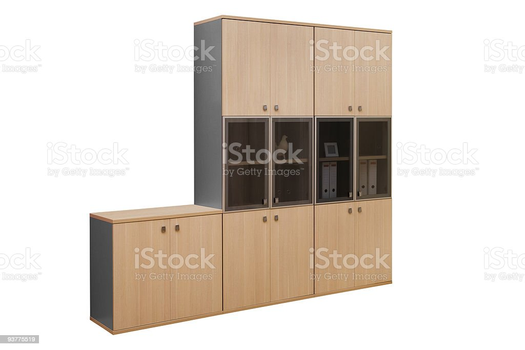 modern wooden bookcase royalty-free stock photo