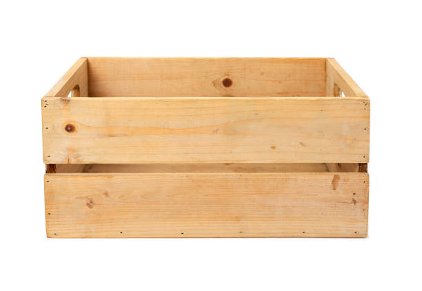Modern wooden box with clipping path. stock photo