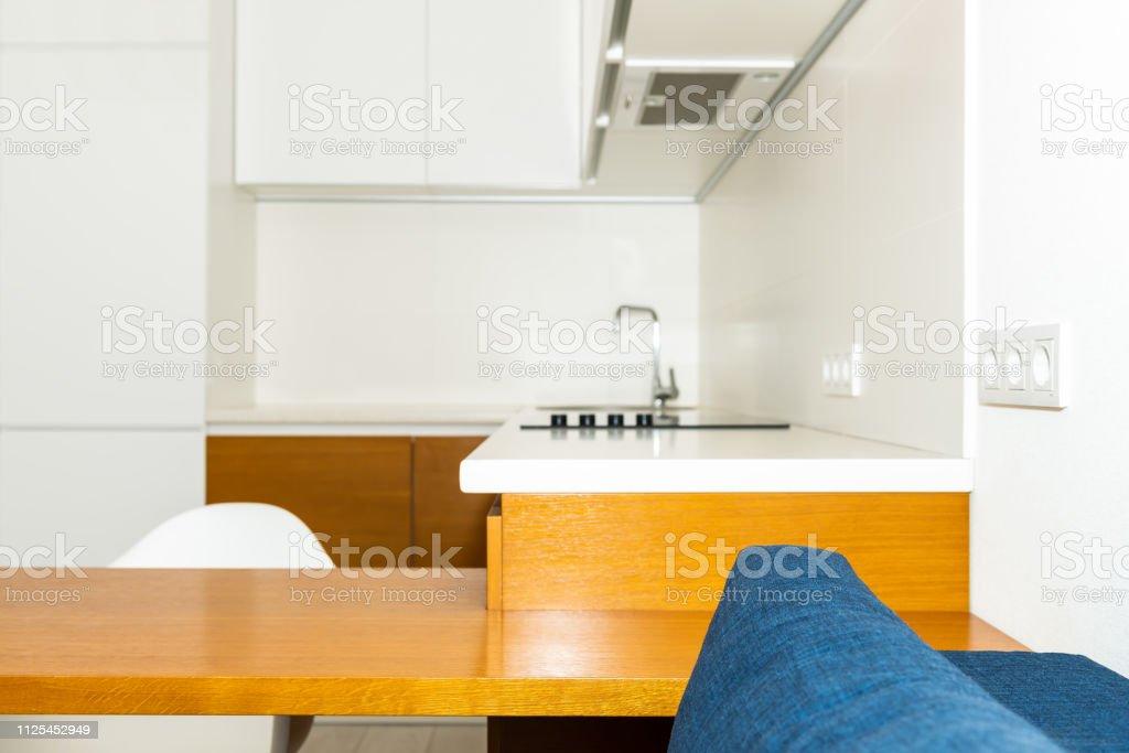Modern Wooden Brown Orange Kitchen Cabinets In Small ...