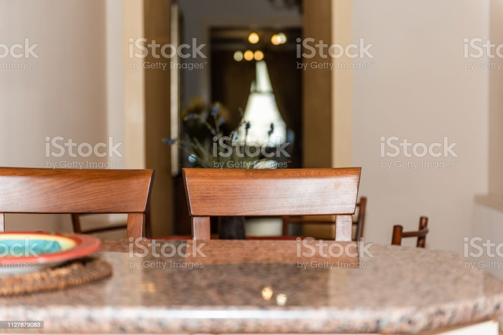 Modern Wooden Brown Orange Kitchen Counter And Granite Countertop Bar With Two Chairs In Small Apartment Stool Interior Design With Empty Plate And Corridor Hall Stock Photo Download Image Now Istock
