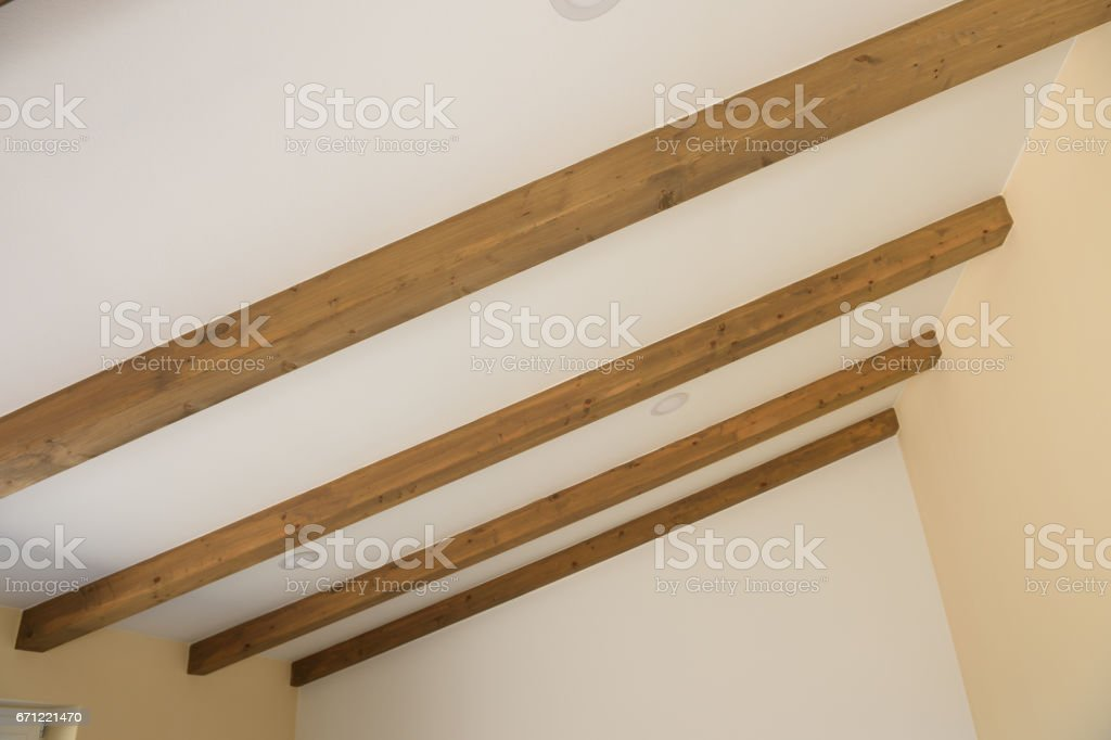 Modern wooden ceiling beams stock photo