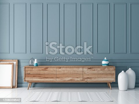 Modern wooden commode or tv console mockup in empty room with gray blue wall, 3d rendering