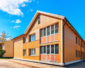 Druskininkai, Lithuania - May 1, 2017: Modern wooden cottage country house