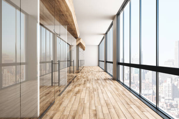 Modern wooden hall Modern wooden office interior hall with city view and daylight. 3D Rendering corridor stock pictures, royalty-free photos & images