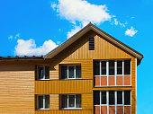 Druskininkai, Lithuania - May 1, 2017: Modern wooden cottage house