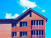 Druskininkai, Lithuania - May 1, 2017: Modern wooden cottage house. Toned