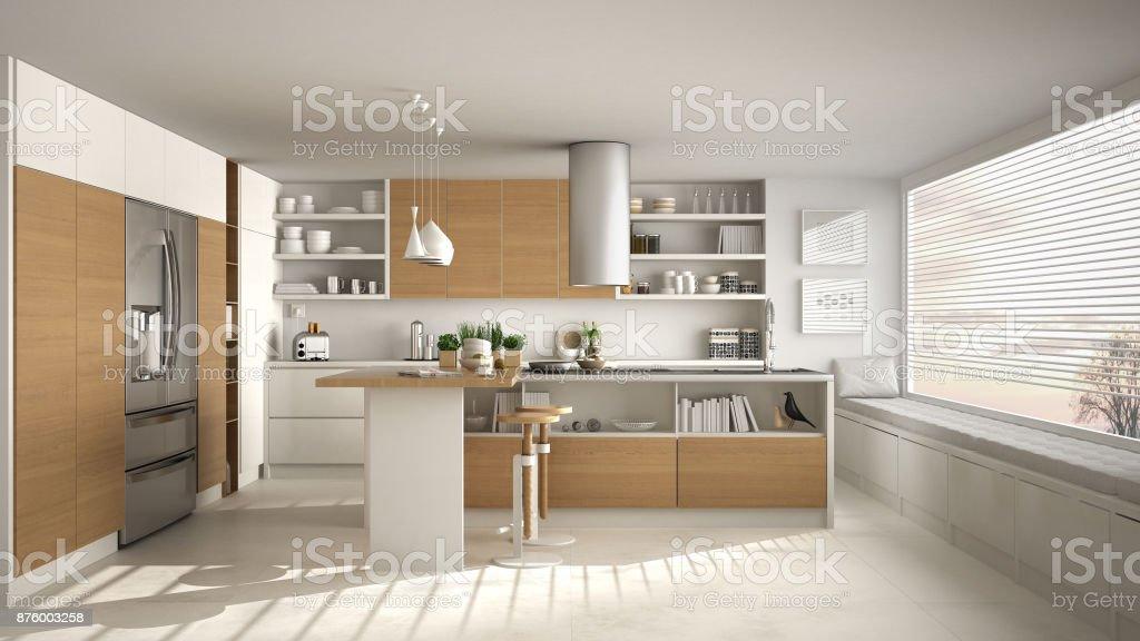 Moderne houten keuken met houten details en panoramisch raam witte