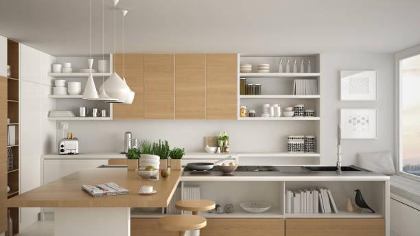moderne holzküche mit holzelementen, nahaufnahme, insel und gasherd mit kochen pfanne, weiße minimalistischen innenarchitektur - kochinsel stock-fotos und bilder