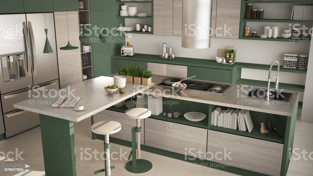 Modern Wooden Kitchen With Wooden Details Close Up Island With