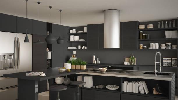 moderne holzküche mit holzelementen, nahaufnahme, insel mit hockern, weiße und graue minimalistischen innenarchitektur - kochinsel stock-fotos und bilder