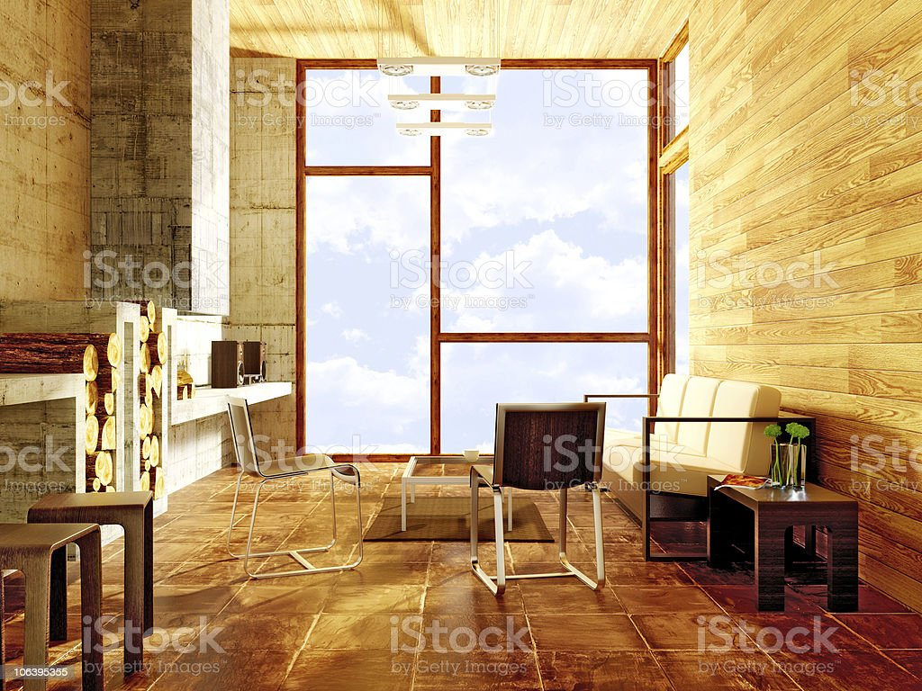 Modern wooden room with white sofa royalty-free stock photo