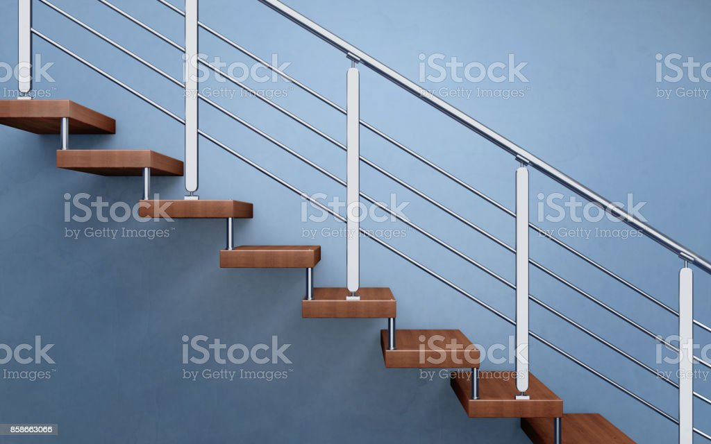 Moderne Holztreppe mit verchromten Reling. 3D-Rendering - Lizenzfrei Architektur Stock-Foto