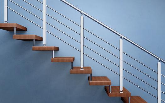 Moderne Holztreppe Mit Verchromten Reling 3drendering Stockfoto und mehr Bilder von Architektur