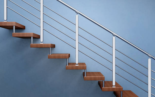 Modern wooden staircase with chromed railing. 3d rendering stock photo