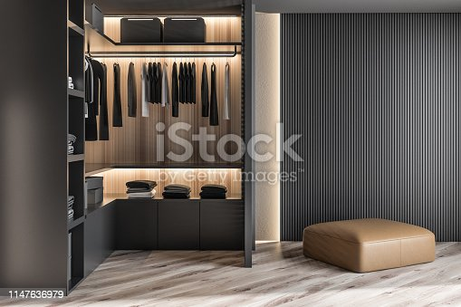 Modern wooden wardrobe with clothes hanging on rail in walk in closet design interior. 3D render