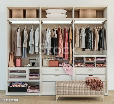 modern wooden wardrobe with women clothes hanging on rail in walk in closet design interior, 3d rendering