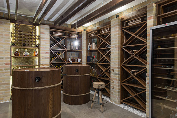 Modern wooden winery or wine cellar Modern wooden winery or wine cellar wine cellar stock pictures, royalty-free photos & images