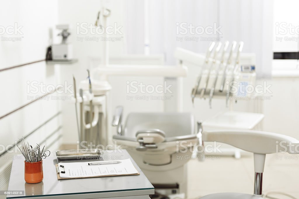 Modern working place of odontologist in hospital stock photo