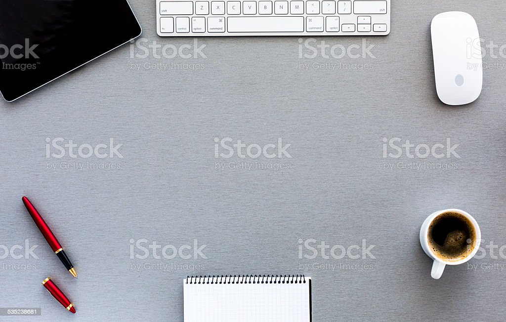Modern working place on grey wood table stock photo