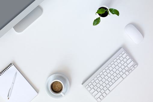 509867718 istock photo Modern working Place on White Office Desk 509867718