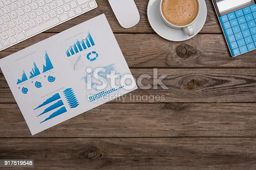 istock Modern working Place on White Office Desk 917519548