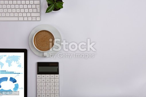 istock Modern working Place on White Office Desk 924672210