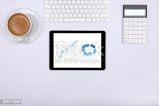 istock Modern working Place on White Office Desk 935212638