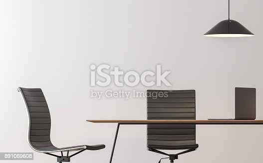 istock Modern working room interior minimal style image 3d rendering 891069608