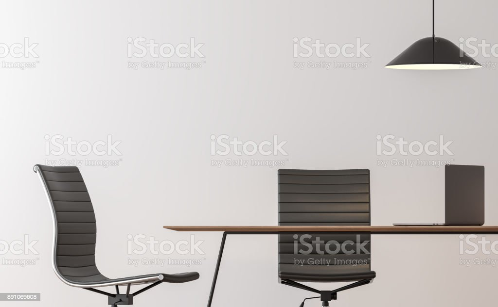Modern working room interior minimal style image 3d rendering stock photo