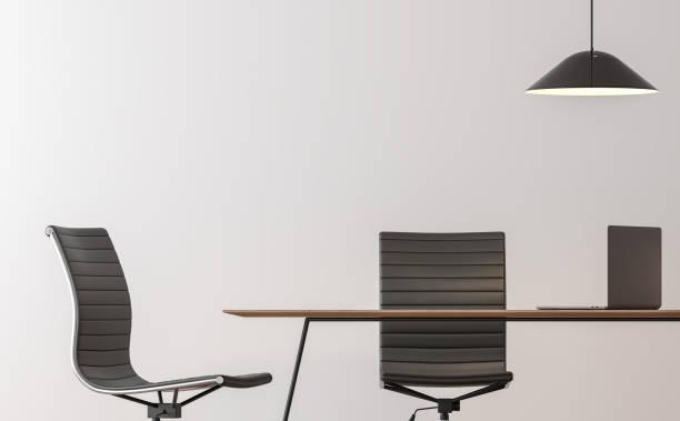 moderne zimmer innen minimal arbeitsstil 3d bildwiedergabe - bürostuhl stock-fotos und bilder
